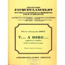 BOET 7...a dire... caprices-études pour clarinette solo