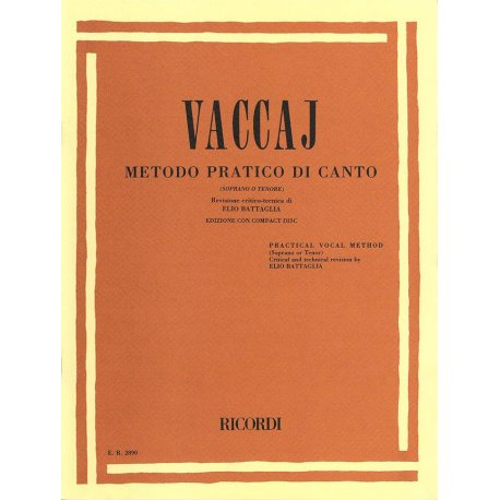 VACCAJ Metodo pratico di Canto Soprano/Tenore